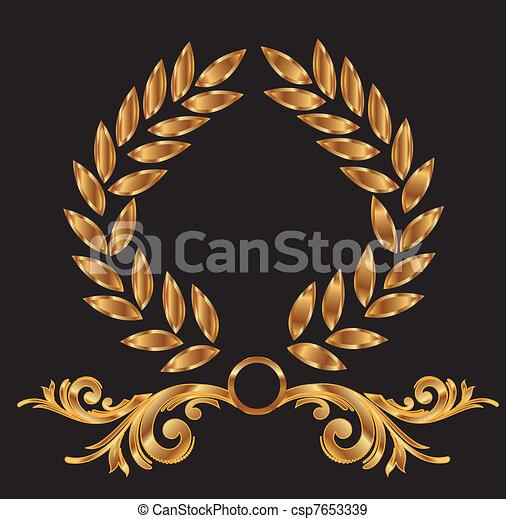 Gold laurel wreath decoration - csp7653339