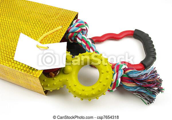 saco, cão, brinquedos - csp7654318