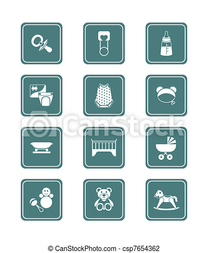 Baby objects icons | TEAL series - csp7654362