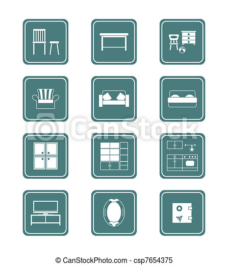 Modern Furniture Icon clipart vector of home furniture icons | juicy series - modern