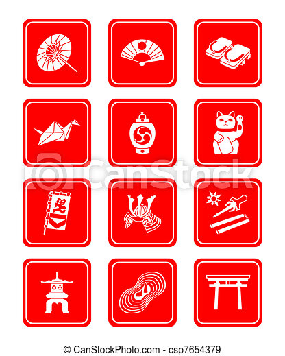 Japanese culture icons - csp7654379