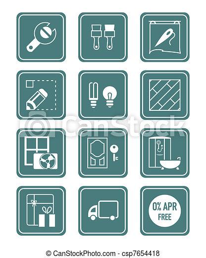 Home repair icons   TEAL series - csp7654418