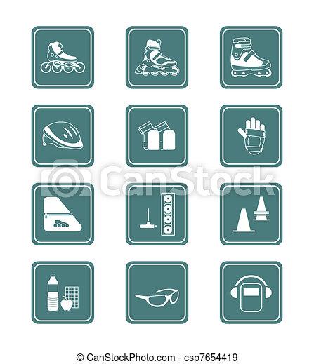 Inline skating icons | TEAL series - csp7654419