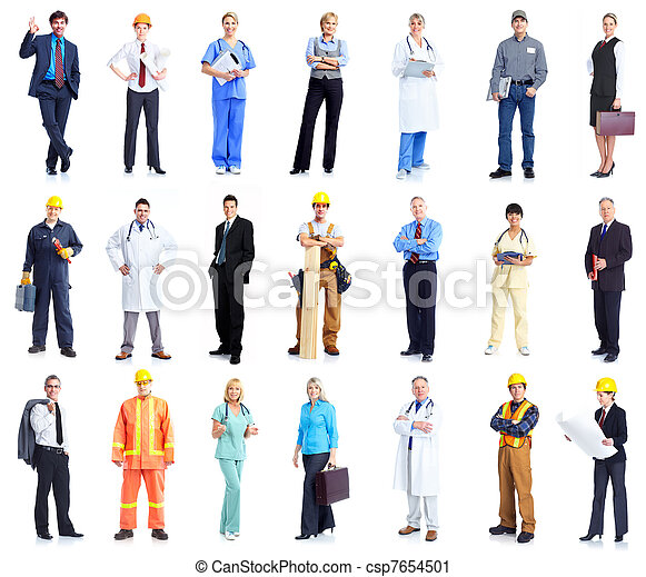 Set of workers business people. - csp7654501