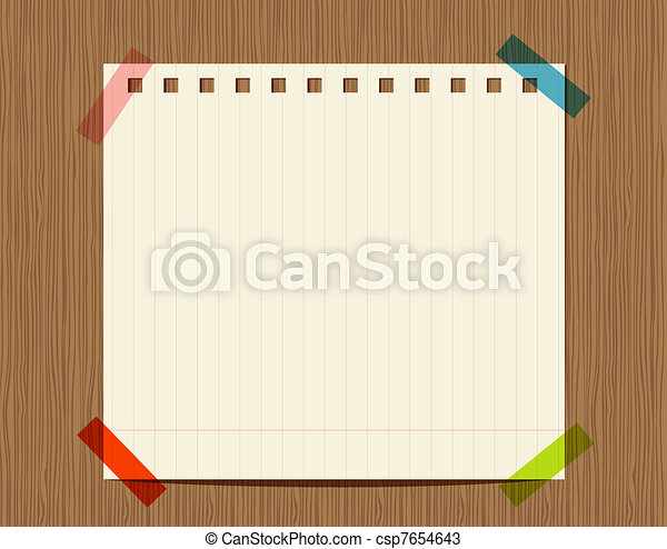 Lined paper of notebook on wooden wall, insert your text - csp7654643