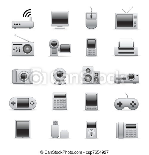 silver electronic icons - csp7654927