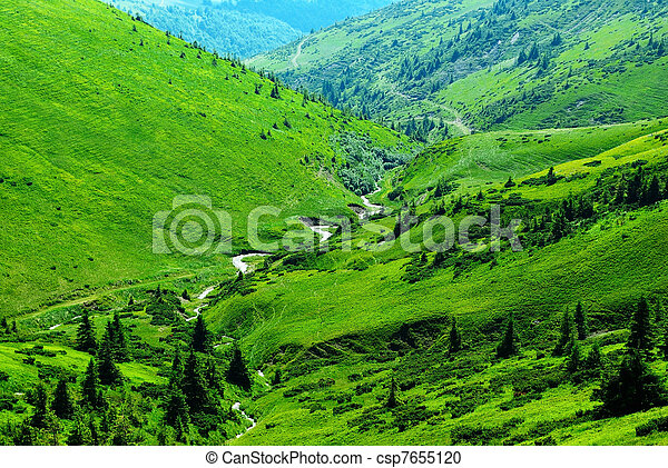 mountain river among green hills - csp7655120