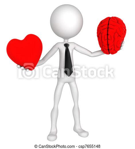 Difficult choice. Businessman balance Heart And Mind  - csp7655148
