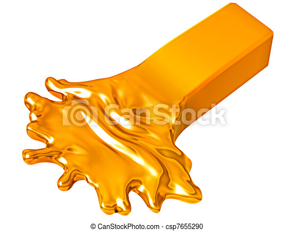 Depreciation: Melting goldbar isolated on white - csp7655290