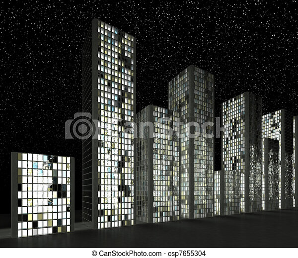 City at night: Abstract skyscrapers  - csp7655304