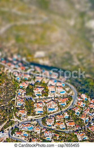 Residential area with tilt shift lens effect - csp7655455