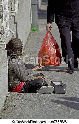 gypsy child beggar - csp7655528