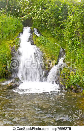 The beautiful waterfall in forest,  - csp7656279