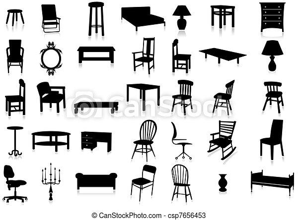 Furniture silhouette vector illustr - csp7656453