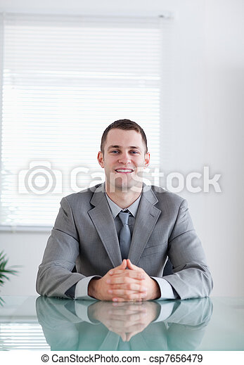 Close up of businessman in a successful negotiation - csp7656479