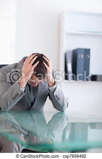 Close up of businessman after failed negotiation - csp7656492