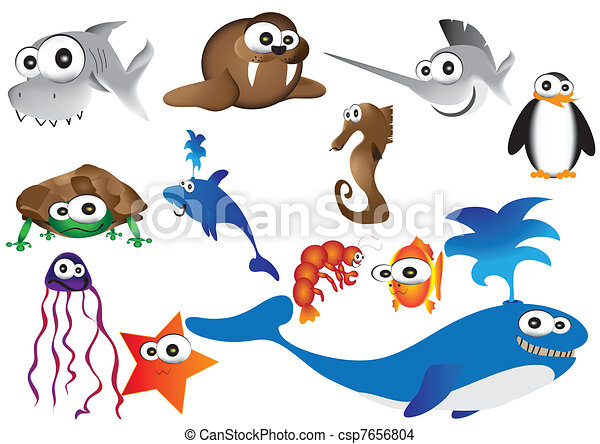 cute sea animals - csp7656804