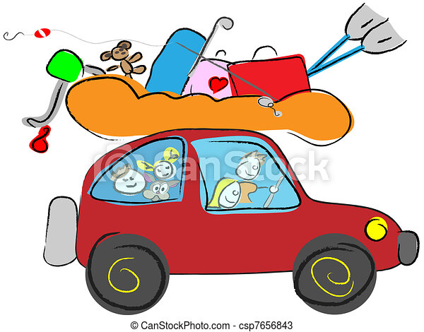 feliz, Viajar, familia, caricatura - csp7656843