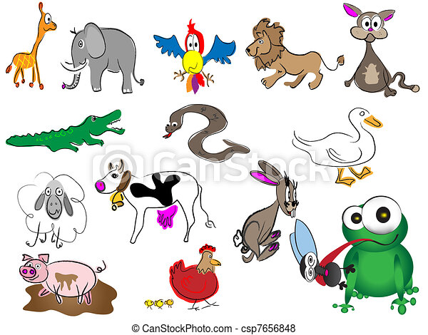 adorable cartoon hand drawn animals - csp7656848