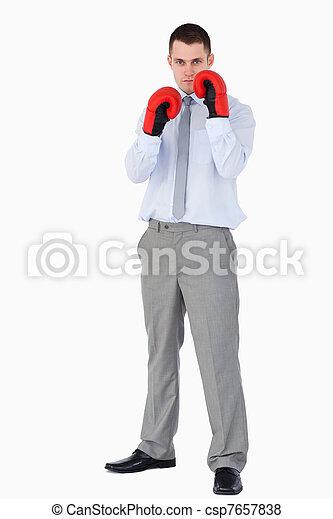 Businessman prepared for tough negotiation - csp7657838