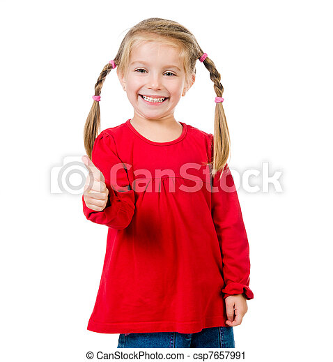 Cute little girl with a plaits - csp7657991
