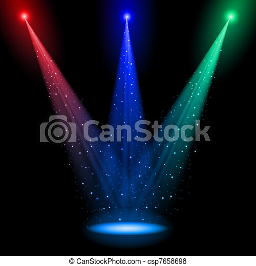 Three conical RGB shafts of light - csp7658698