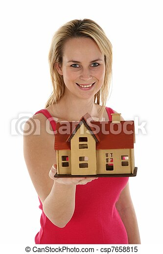 Lady Selling House Concept - csp7658815