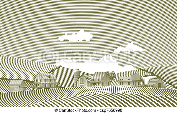 Woodcut Village - csp7658998