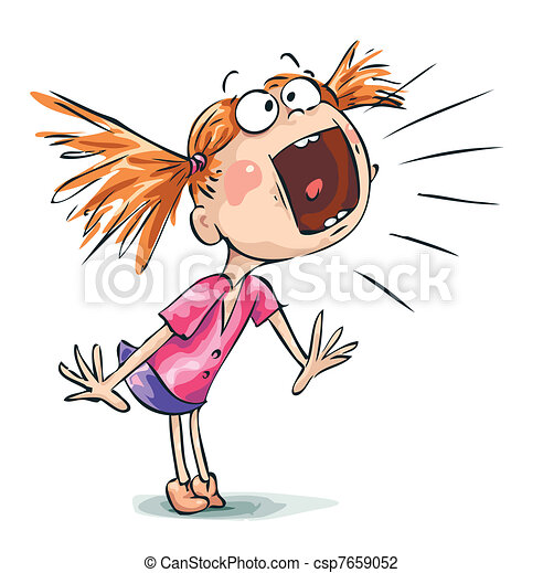 Image result for images of little girl screaming caricature
