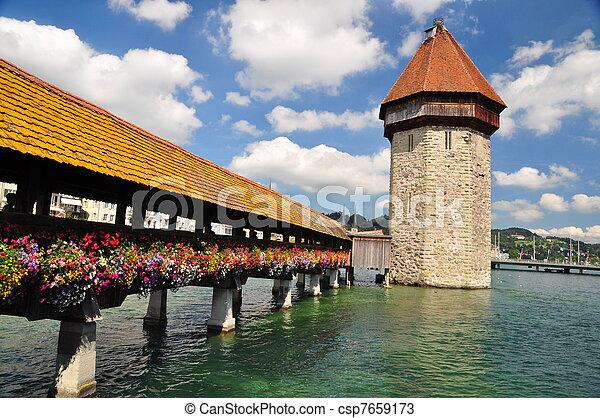 Chapel Bridge tower, Luzern - csp7659173