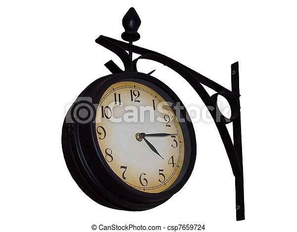 rail station old wall clock - csp7659724