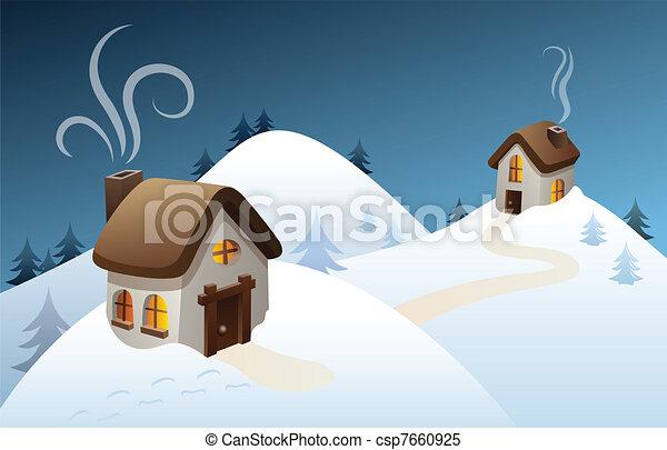 Clipart Vector of Winter country scene - Snowy winter scene in the ...