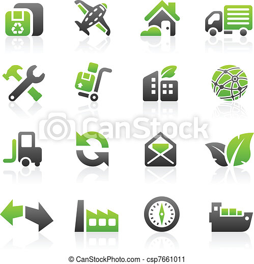 Green shipping icons - csp7661011