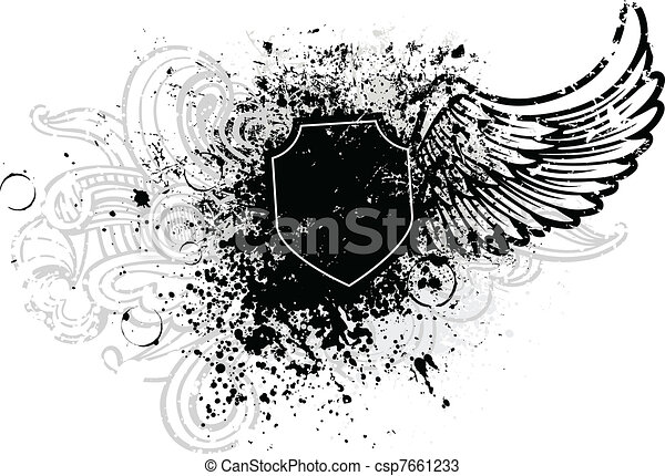 Black shield and wing - csp7661233