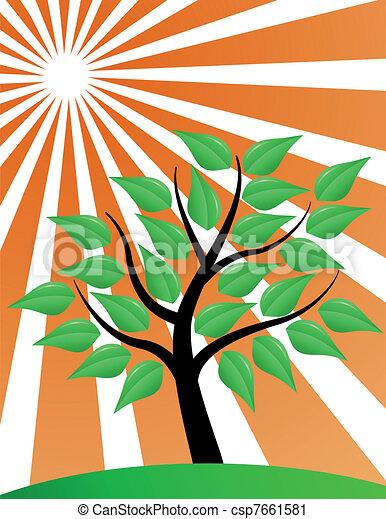 tree stylized with red sunburst - csp7661581