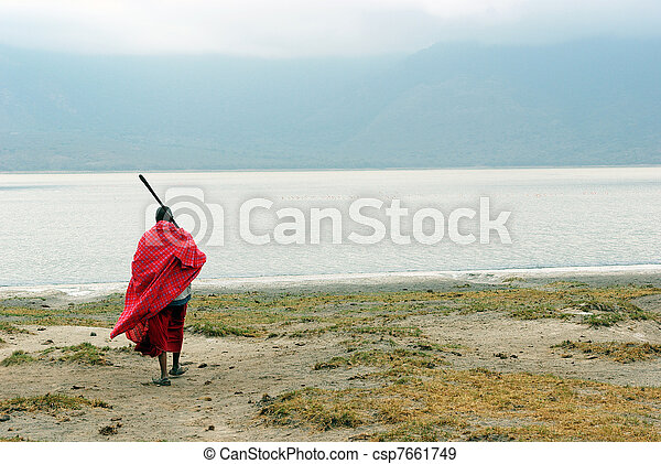 Masai in front of Empakai lake - csp7661749