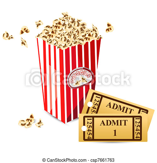 Vector - Pop Corn with Movie Ticket - stock illustration, royalty free