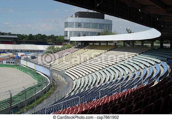 racetrack tribune in sunny ambiance - csp7661902
