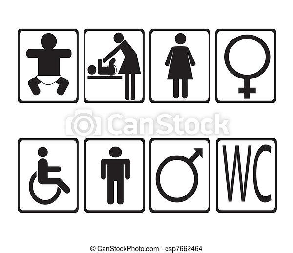 man woman toilet signs . vector - csp7662464