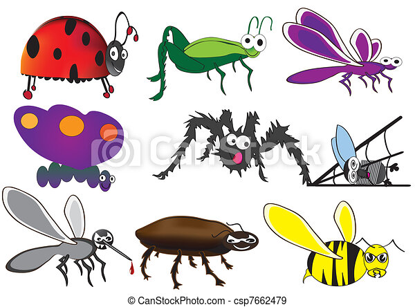 cute bugs, funny beetles - csp7662479