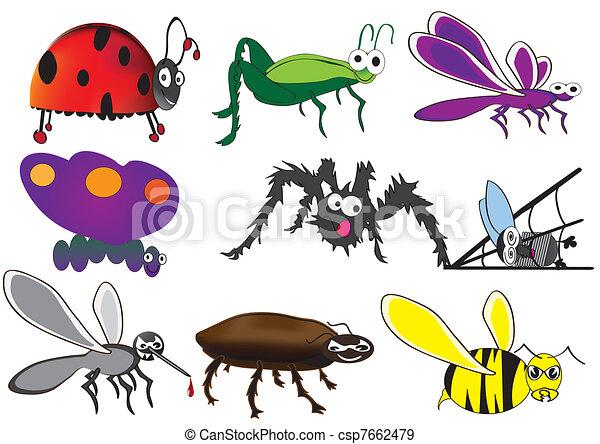 cute bugs, funny beetles - csp7662479