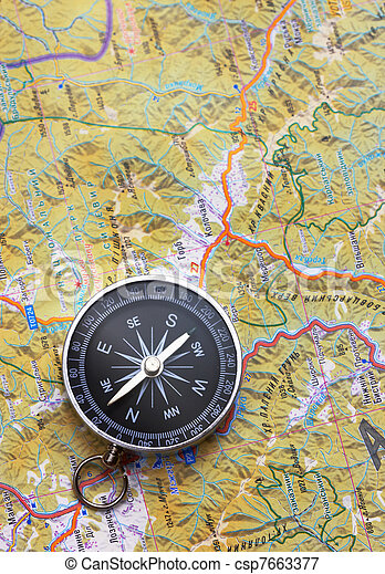 Compass on map - csp7663377