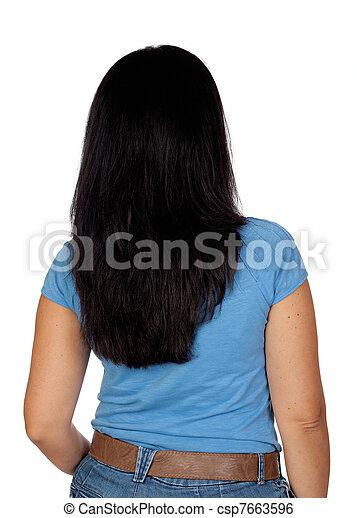 cabelo, mulher, pretas - csp7663596