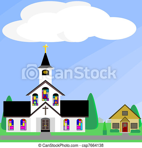 Church with stained glass windows - csp7664138