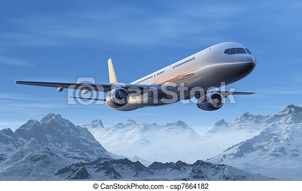 Morning airliner flight over the snowy mountain peaks - csp7664182