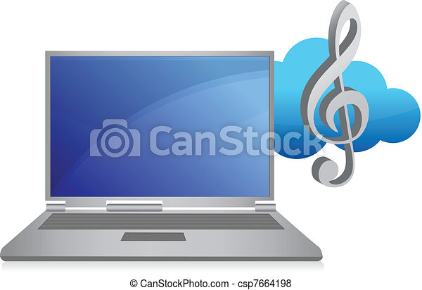 online music concept illustration  - csp7664198