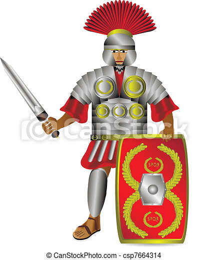 Roman centurion on white - csp7664314