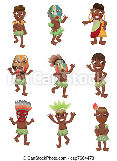 cartoon Africa Indigenous icons - csp7664473