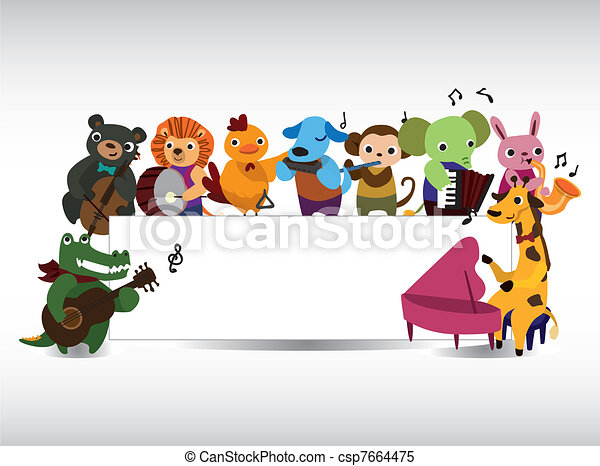 animal play music card - csp7664475