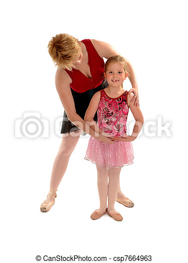 Ballet Mistress Teaching Girl Child Student - csp7664963